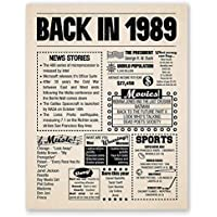 8x10 1989 Birthday Gift // Back in 1989 Newspaper Poster // 30th Birthday Gift // 30th Party Decoration // 30th Birthday Sign // Born in 1989 Print