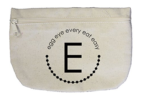 Alphabet E, Egg Eye Every Eat Easy Canvas Pouch with Zipper, Makeup Bag (Alphabet Egg)