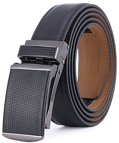 Marino Avenue Men's Genuine Leather Ratchet Dress Belt with Linxx Buckle - Gift Box (Black - Style 166, Adjustable from 38