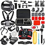 SmilePowo 42-in-1 Accessories Kit for GoPro Hero8 7 Black/GoPro Fusion/Hero6 Black /Hero5 Black/Hero Session/Hero4 3+ 2 1 Black/Hero (2018)/Silver/AKASO/Campark/APEMAN/SJCAM/Max with Car Suction