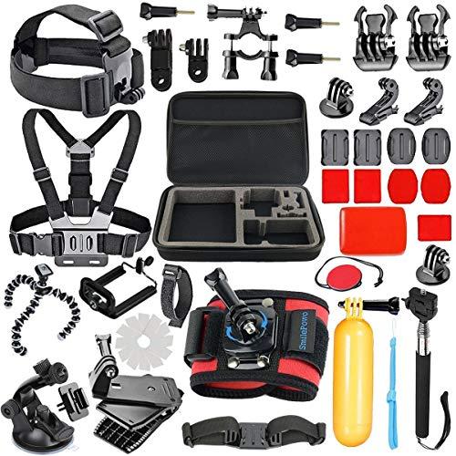SmilePowo 42-in-1 Accessory Kit for GoPro Hero 7 6 5 4 3 3+ 2 1 Black Sliver HERO 2018 Fusion Session AKASO SJCAM APEMAN YI Campark DJI OSMO Sony Sports DV Action Camera, Head Strap Camera Mount