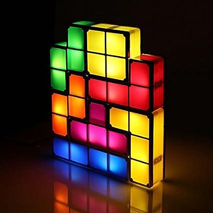 Lovely BonZeal Interlocking Light Plastic Tetris Stackable LED Lamp   (Multi,  0.5Watt, Desk