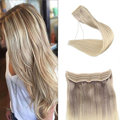Beauty : Full Shine 20 inch Fish Line Invisible Double Weft Hair Extension Balayage Ombre Color #18 Ash Blonde Fading to Color #22 and Color #60 Human Hairpiece Extension 100g