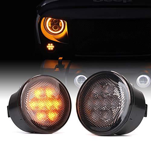 Xprite LED Turn Signal Light Smoked Lens Signal Assembly for 2014-2018 Jeep Wrangler JK JKU