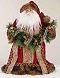 "14"" Lavish Santa Claus in Burgundy Robe Christmas Tree Topper"