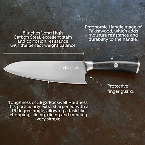 upc 862204000275 product image for Chef Knife - Professional 8 Inches, High Carbon Stainless Steel, Ultra Sharp and Ergonomic Handle Perfect for Sushi, Chopping, Slicing, Dicing & Mincing. Wisdom Series Kitchen Knife