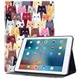iPad 9.7 inch Case 2018/2017 iPad Air Case, Glowish Premium Leather Folio Case Cover and Multiple Viewing Angles Stand for Apple iPad 6th / 5th Gen iPad Air 2/ iPad Air(Color Cat)