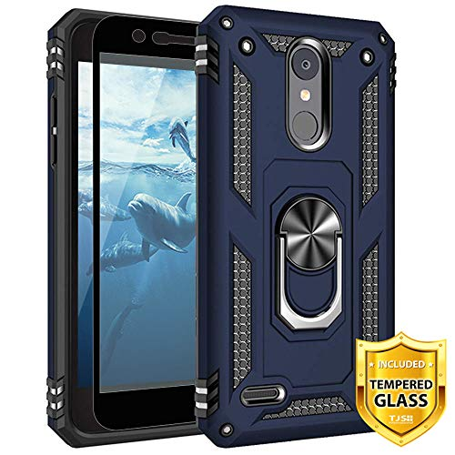 TJS Phone Case for LG Aristo 2/Aristo 2 Plus/Aristo 3/Aristo 3 Plus/Tribute Dynasty/Tribute Empire, with [Full Coverage Tempered Glass Screen Protector][Defender][Metal Ring][Magnetic Support] (Blue) (Full Empire)