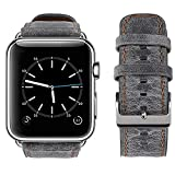 top4cus Genuine Leather iwatch Strap Replacement Band Stainless Metal Clasp, Compatible for 38mm 42mm Apple Watch Series 3 S2 S1 and Sport Edition (38 mm,Retro Grey a)