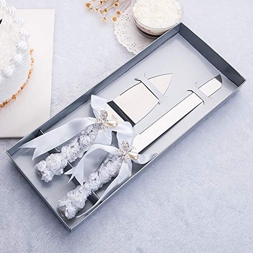 DÉCOCO 2 PCS Silk Rose Ribbon with Pearl Butterfly Bow Style Stainless Steel Wedding Cake Knife Cutter Server Set for Wedding Anniversary, Engagement, Birthday Party with Gift - Butterfly Knife Cake