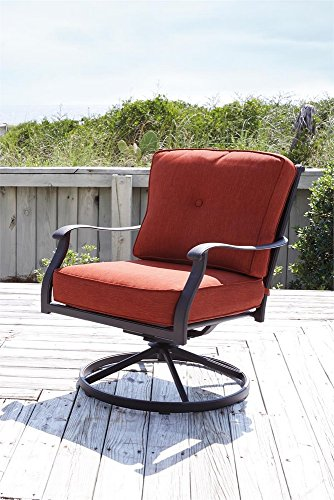 Ashley Furniture Signature Design - Burnella Swivel Rocker Lounge Chair with Cushion -Set of 2 - Outdoor - Rust Free Cast Aluminum - Orange & Brown Swivel Outdoor Lounge Chair