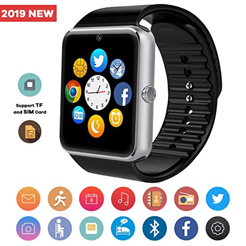 TagoBee Smart Watch TB04 Smartwatch for Android Phones, Smart Watches with Camera SIM/GSM SD Memory Card Slot Touchscreen Bluetooth Watch Compatible for Android iPhone Samsung Men (Silver)