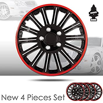 Amazon.com: Yupbizauto 15 inch ABS Plastic 14 Spikes Black Hubcap Covers with Red Rim Wheel Covers Hub Cap Full Lug Skin Set with Air Freshener 527: ...