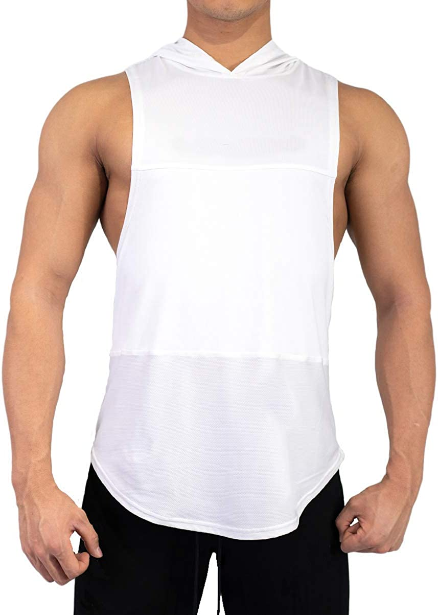 Mens Hooded Patchwork Vest Tank Tops Casual Sleeveless Sports T-Shirt Top