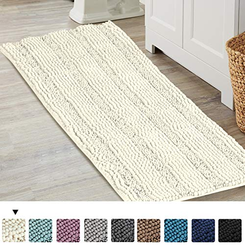Runner Bath (Bath mat Runners for Bathroom Rugs Extra Soft, Absorbent, Thickening Shaggy Microfiber, Machine-Washable, Perfect for Doormats,Tub, Large Size 47 by 17 Inch, Ivory)