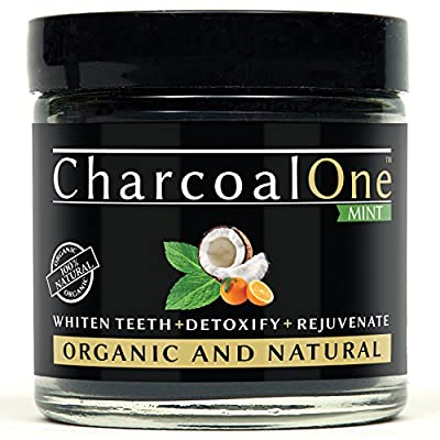 Natural Activated Charcoal Teeth Whitening Powder -by CharcoalOne: Organic Coconut Oil, Bentonite Clay, Mint & Orange Seed Oil - Usable With Toothpaste for Sensitive Teeth