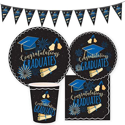 Amosfun 41pcs Graduation Party Supplies Set - Graduation Banner,Graduation Paper Plates,Graduation Cups,Graduation Napkins for Graduation Party Decorations -