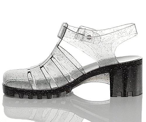 Heel Grey Block Mid Women Black Retro Ajvani Size 90s Sandals Glitter qtz7x61