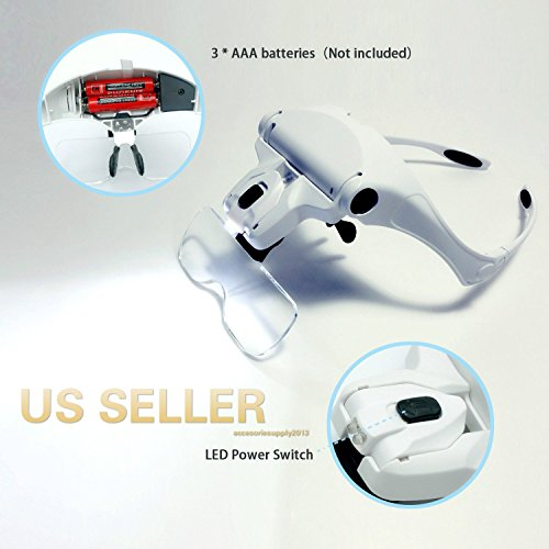 Accesoriesupply2013 Magnifying Glass Lens LED Light Lamp Visor Head Loupe Jeweler Headband (Wearable Condition)
