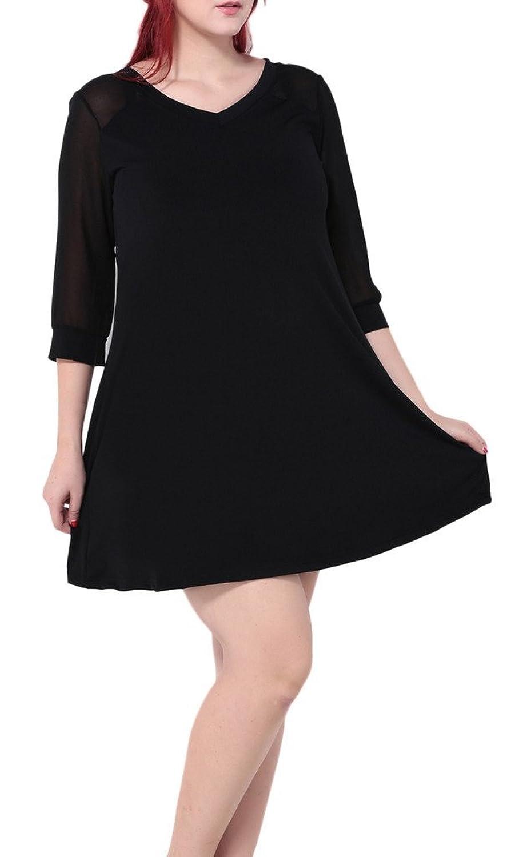Bigood Plus Size 2/3 Armel Damen Minikleid Skaterkleid Party Kleid Sommer kleid Schwarz