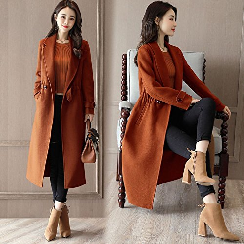 'S Colour Waist Waist Women Clothing is Casual WYF Caramel Clothes Casual Coat It Coat Coat Jacket a Long of 6xfqUO0fw
