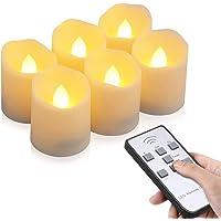 Velas LED sin Llama, otumixx Pack de 6 Velas LED Sin Fuego con Mando a Distancia y Temporizador, Velas Eléctricas con…