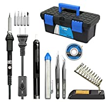 Pasaone Soldering Iron Kit 60W Adjustable Temperature Controlled Welding Tool Set with Carry Box
