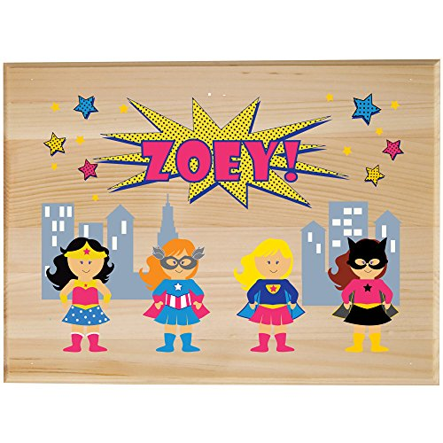 (Personalized Childrens Wooden Room Sign Girls Superhero)