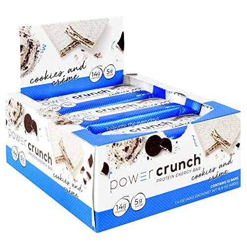Power Crunch High Protein Energy Snack, Cookies & Creme, 1.4-Ounce Bars (Pack of 12) ()