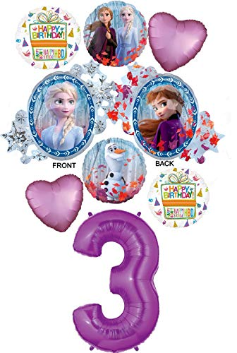 Frozen Party Balloons (Frozen 2 Party Supplies 3rd Birthday Elsa, Anna and Olaf Balloon Bouquet Decorations - Purple Number)