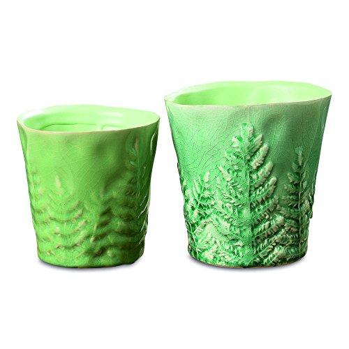 Naturally Modern Pressed Leaf Crackle Cache Pot Planters, Set of 2, Matched Fern Greens, Crackle Glaze, Porcelain, Cone Shape, Vintage Rubbed Finish, 1- 4 3/4 Diameter 2 - 5 1/2 Inches Diameter - Hand Rubbed Porcelain
