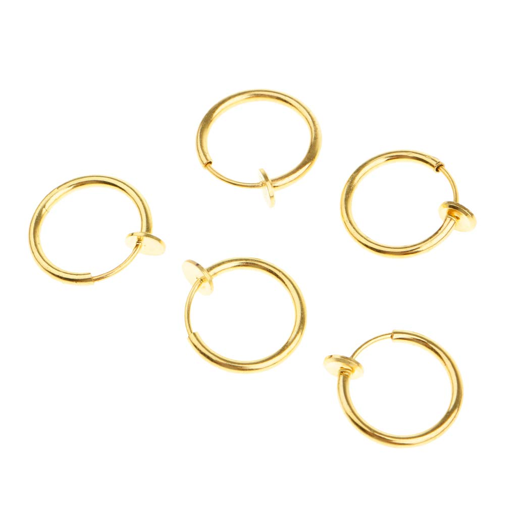 Prettyia 5 Pieces Illusion Clip On Nose Ear Septum Lip Eyebrow Ear Versatile Ring No-Piercing Body Jewelry Women Mens