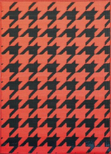 Mad Mats Hounds Tooth Indoor/Outdoor Floor Mat, 6 by 9-Feet, Black and Orange by Mad Mats®