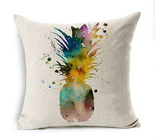 Lyn? Cotton Linen Square Throw Pillow Case Decorative Cushion Cover Pillowcase for Sofa Deer Head 18