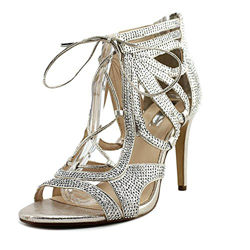 INC International Concepts Womens Raydin Fabric Open Toe Special Occasion ANK. Pearl Gold