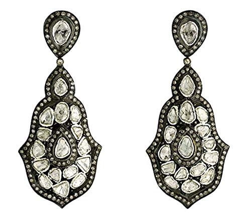 925 Sterling Silver Pave Diamond Earring with Rose Cut Diamond Earring Blue Sapphire Earring Victorian Handmade Earring