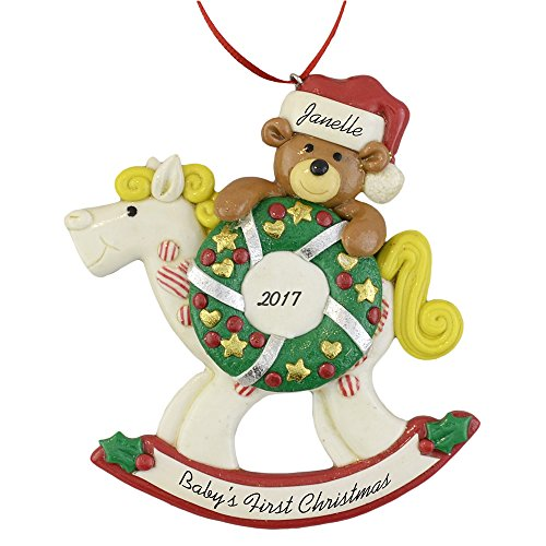 A Baby's First Christmas Rocking Horse Ornament 2019- Personalized for Boy or Girl - by Calliope Designs - Handcrafted - 4