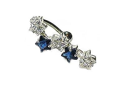 Belly Bars Pierced Modified Body Jewellery Crystal Sterling