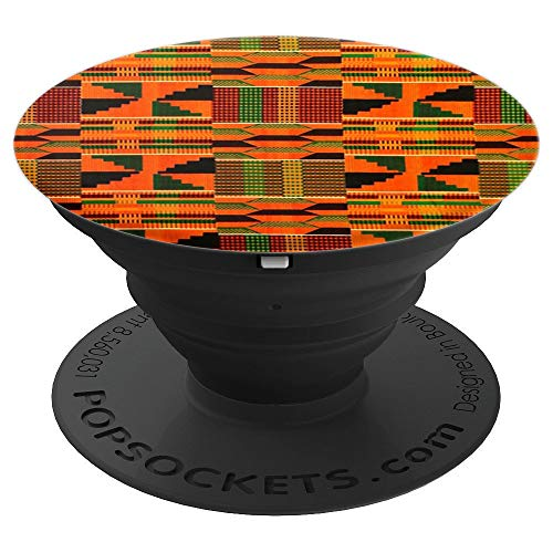 African wax print orange pattern - Black heritage - PopSockets Grip and Stand for Phones and Tablets
