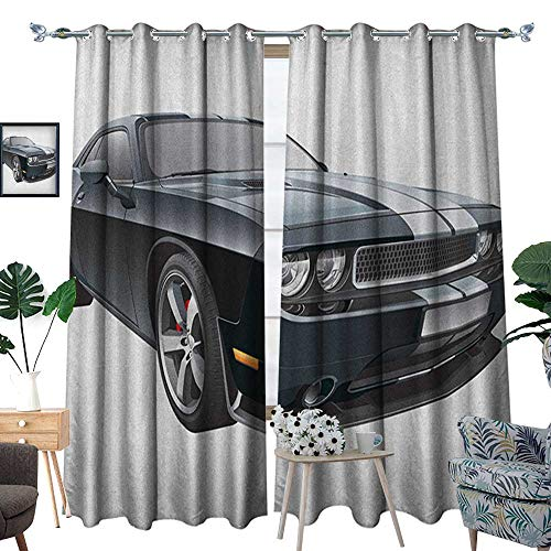 Cars Patterned Drape for Glass Door Black Modern Pony Car with White Racing Stripes Coupe Sports Dragster Print Waterproof Window Curtain W96 x L84 Black Grey White