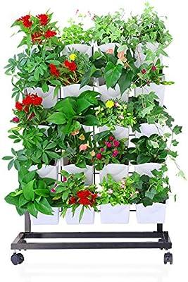 ZDYLM-Y Bolsillos jardín Vertical Pared, Tipo de Piso Soporte de Planta móvil con Ruedas, Capacidad de Carga Fuerte, para Flores, Vegetales,Blanco: Amazon.es: Deportes y aire libre