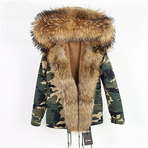 29aae07b52294 MASCHERANO Women Winter Jacket Long Parka Real Fur Coat Raccoon Fur Collar  Hooded Thick Outerwear at Amazon Women's Coats Shop