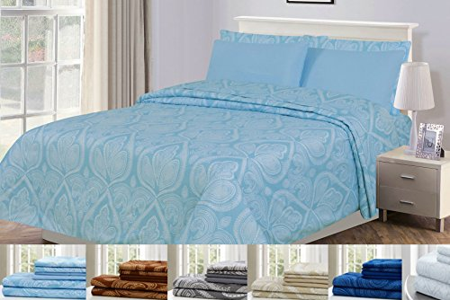 6 Piece: Paisley Printed Bed Sheet Set 1800 Count Egyptian Quality HOTEL LUXURY Flat Sheet,Fitted Sheet with 4 Pillow Cases,Deep Pockets, Soft Extremely Durable by Lux Decor (Full, BLUE) (Discount Bed Sheet Sets)