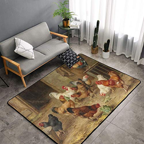 Bedroom Living Room Kitchen Big Size Area Rugs Home Art - Rooster Chicken Hen Farm Floor Mat Doormats Quick Dry Spa Bathroom Floor Mats Exercise Mat Throw Rugs Carpet
