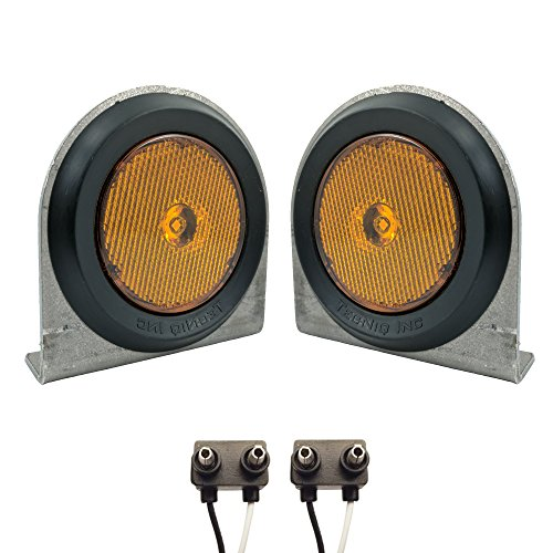 Pair of LED Low-Profile 2.5'' AMBER Side Markers - LED Light Kit w/ Steel Mounting Brackets, Wire Plugs, & Grommets - LED Trailer Truck RV Lights (2.5'' Round LED, Amber) by TecNiq Sidemarkers