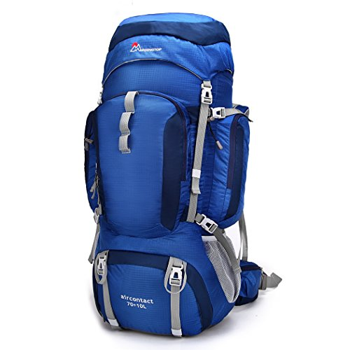 Mountaintop 70L+10L Water-resistant Outdoor Backpack Backpacking Trekking Bag with Rain Cover for Climbing,camping,hiking,Travel and Mountaineering-6804 Sapphire Blue