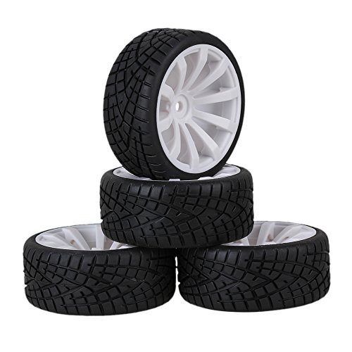 Mxfans 12mm Hex White Plastic 10-Spoke Wheel Rims & Black Fish Pattern Rubber Tires RC 1:10 On Road Racing Car Pack of 4