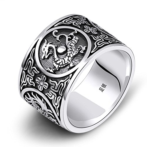 (Aokarry 925 Sterling Silver Men Retro Bands Rings Dragon Engraved Thumb Ring for Men 15MM Size 9.5)
