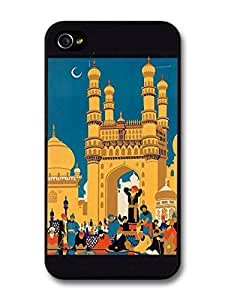 Colourful Retro India Travel Poster with Black Border case for iPhone 4 4S