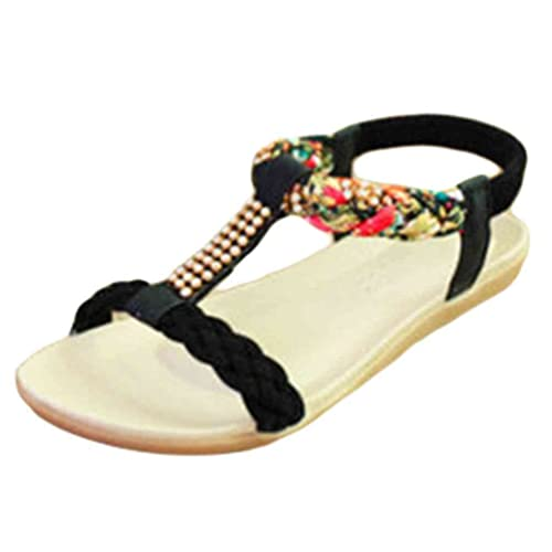 d9ec0876569c YOUJIA Womens Bohemia Rhinestones T-Strap Peep Toe Slingback Flip Flop Flat  Shoes Sandals (
